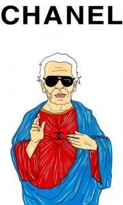 Alexsandro Palombo caricature de Karl Lagerfeld en pape de la mode