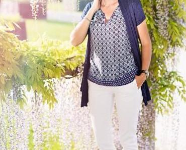 wisteria lane : top bleu à motifs