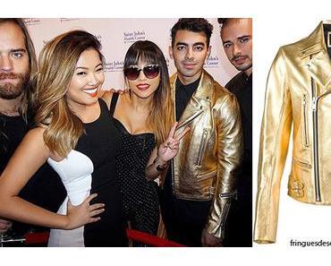 STYLE : Joe Jonas with a gold-toned biker jacket