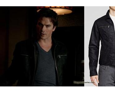 THE VAMPIRE DIARIES : Damon with a Varvatos denim jacket in s7 ep05
