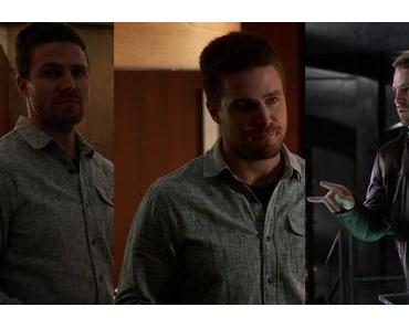 THE FLASH : Oliver Queen (Stephen Amell) wearing a blue sport shirt in s2ep08