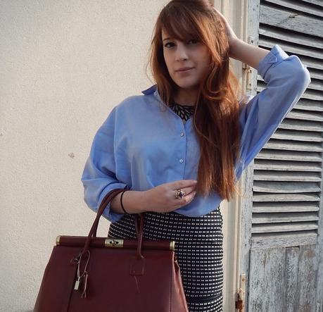 Vintage en chemise bleue