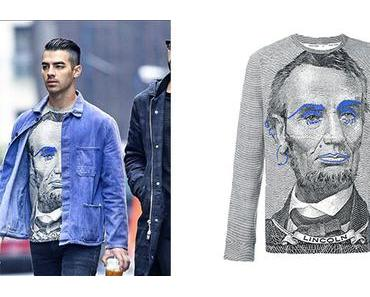 STYLE : Joe Jonas and a Lincoln print sweatshirt