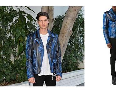 STYLE : Will Peltz wearing a great Moschino biker jacket