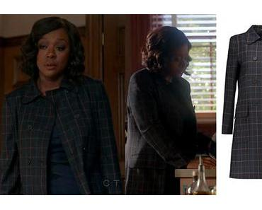 HOW TO GET AWAY WITH MURDER : Annalise wearing a tile-check coat in s3ep9