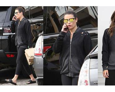 STYLE : Lea Michele wearing a distressed hoodie