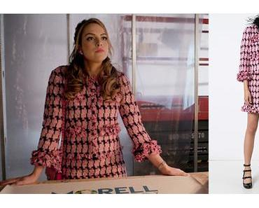 DYNASTY : Fallon Carrington with a black and pink suit in s1ep04