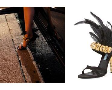DYNASTY : Feather-Embellished sandal for Fallon Carrington in s1ep04