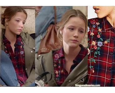 DEMAIN NOUS APPARTIENT : Margot avec un chemisier à carreaux et fleurs brodées dans l'épisode 165