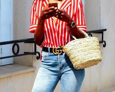 Denim and red stripes