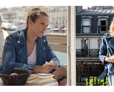 DEMAIN NOUS APPARTIENT : le perfecto bleu en suède de Lucie dans l'épisode 259