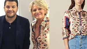 C'EST PROGRAMME chemise imprimée soie Sophie Davant dans l'émission