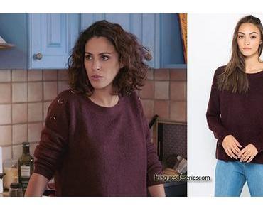 DEMAIN NOUS APPARTIENT : le pull bordeaux à épaules boutonnée de Leila dans l'épisode 618