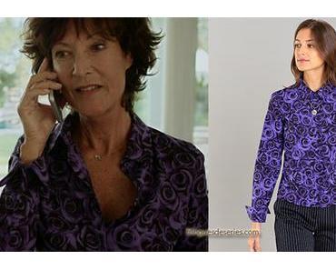 UN SI GRAND SOLEIL : la chemise violette imprimé roses d'Elisabeth dans l'épisode 345