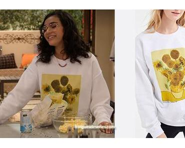 THE EXPANDING UNIVERSE OF ASHLEY GARCIA :  Ashley's Sunflowers print sweatshirt in S1E05