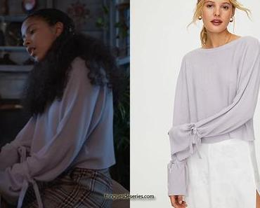 JULIE AND THE PHANTOMS: Julie's purple cuff-tie sweater in S1E01