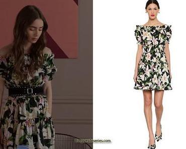EMILY IN PARIS : Emily's floral Off Shoulder Cotton Poplin Dress