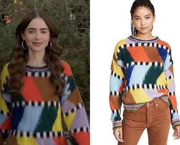 EMILY IN PARIS : Emily's sweater with a colorblock patchwork
