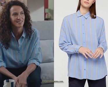 DEMAIN NOUS APPARTIENT : la chemise bleue à rayures jaunes de Clémentine dans l'épisode 790