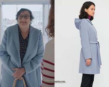 DEMAIN NOUS APPARTIENT le manteau bleu lavande à capuche de Mona dans l'épisode 800