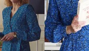 DEMAIN NOUS APPARTIENT robe bleue imprimé animal Sandrine dans l'épisode