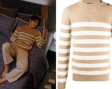 TRUE BEAUTY : Lee Su-Ho's beige and white striped sweater in S1E03